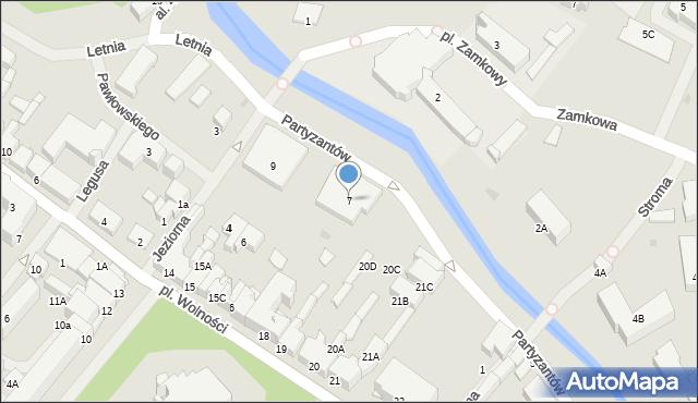 Olecko, Partyzantów, 7, mapa Olecko