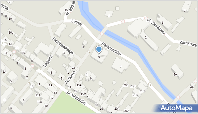 Olecko, Partyzantów, 9, mapa Olecko