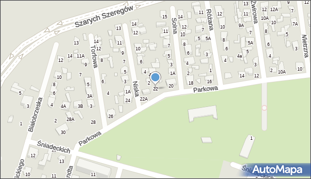 Radom, Parkowa, 22, mapa Radomia