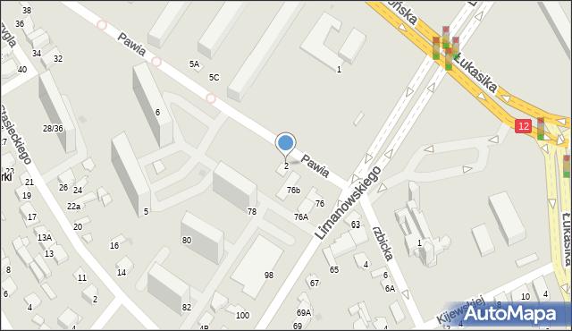 Radom, Pawia, 2, mapa Radomia