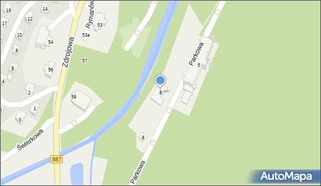 Rymanów-Zdrój, Parkowa, 6, mapa Rymanów-Zdrój