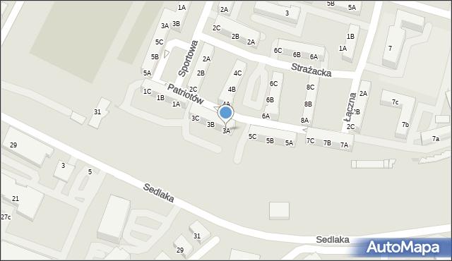 Sosnowiec, Patriotów, 3A, mapa Sosnowca