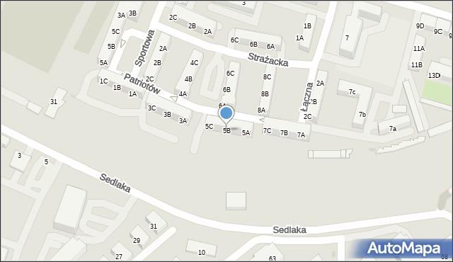 Sosnowiec, Patriotów, 5B, mapa Sosnowca