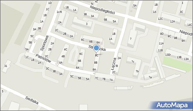 Sosnowiec, Patriotów, 8C, mapa Sosnowca