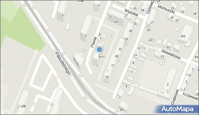 Sosnowiec, Pawia, 3, mapa Sosnowca