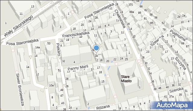 Toruń, Panny Marii, 2a, mapa Torunia