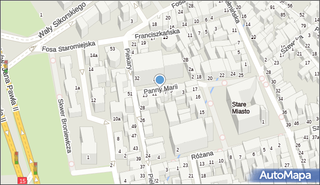 Toruń, Panny Marii, 9, mapa Torunia