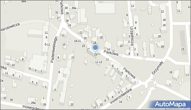 Toruń, Parkowa, 13, mapa Torunia