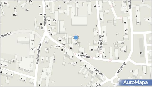 Toruń, Parkowa, 16, mapa Torunia