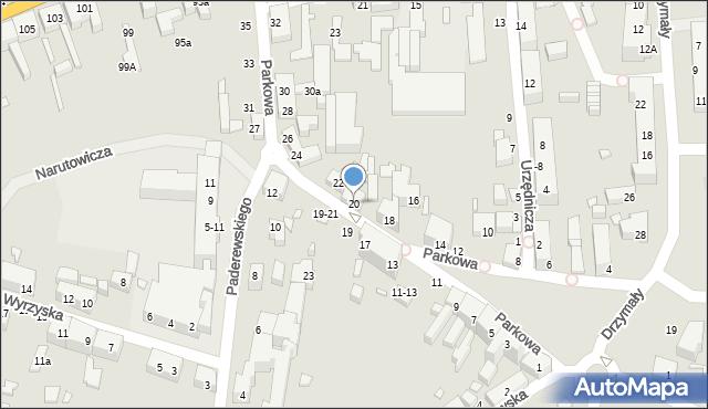 Toruń, Parkowa, 20, mapa Torunia