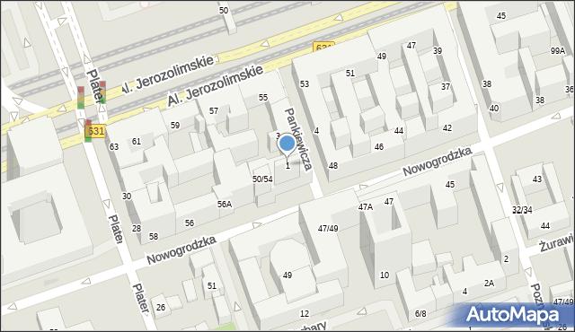 Warszawa, Pankiewicza Jana, 1, mapa Warszawy