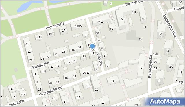 Warszawa, Padewska, 11, mapa Warszawy