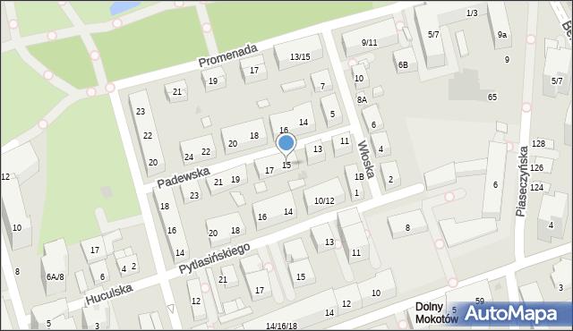 Warszawa, Padewska, 15, mapa Warszawy