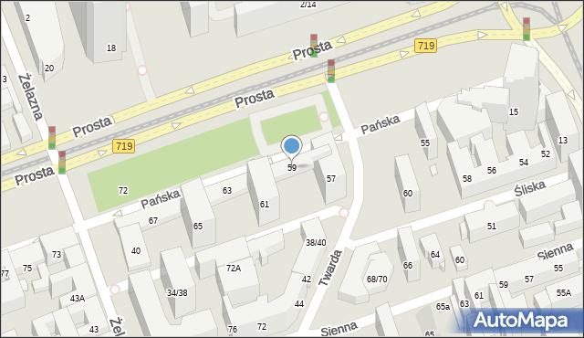 Warszawa, Pańska, 59, mapa Warszawy