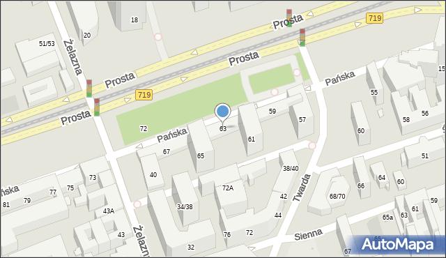 Warszawa, Pańska, 63, mapa Warszawy