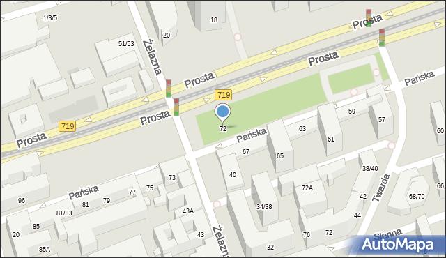 Warszawa, Pańska, 72, mapa Warszawy