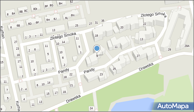 Warszawa, Pandy, 9, mapa Warszawy