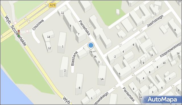 Warszawa, Panieńska, 5, mapa Warszawy
