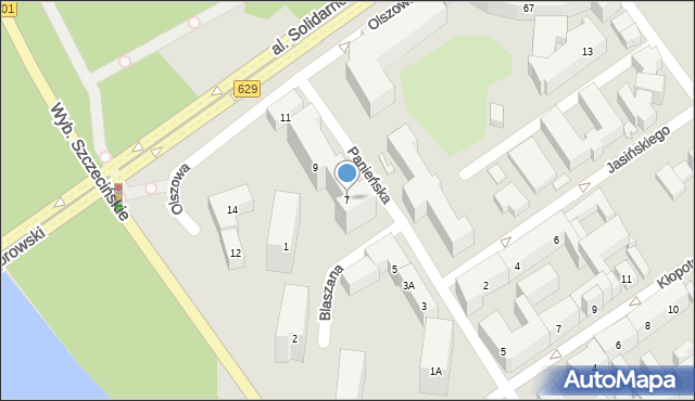 Warszawa, Panieńska, 7, mapa Warszawy
