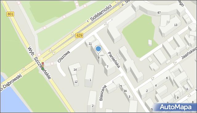 Warszawa, Panieńska, 9, mapa Warszawy