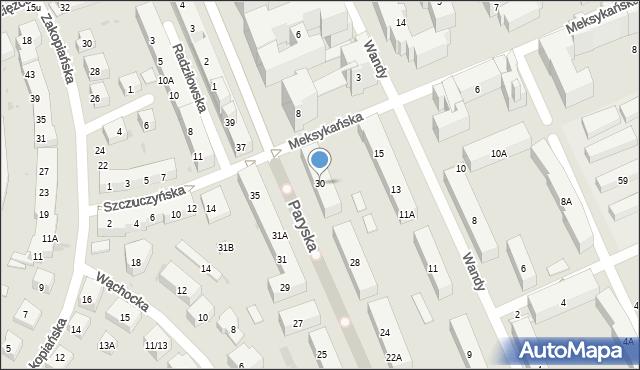 Warszawa, Paryska, 30, mapa Warszawy
