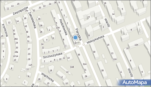 Warszawa, Paryska, 37, mapa Warszawy
