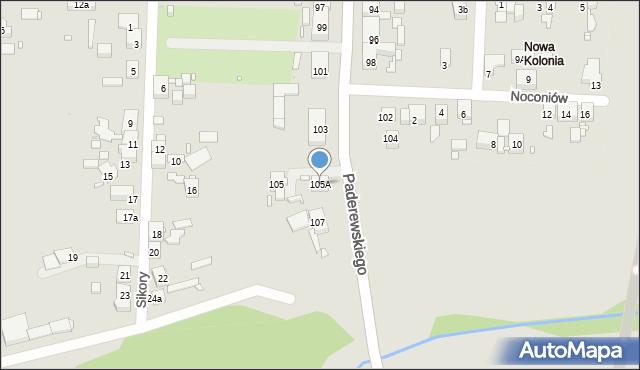 Zabrze, Paderewskiego Ignacego Jana, 105A, mapa Zabrza