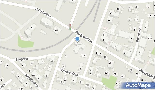 Zamość, Partyzantów, 14, mapa Zamościa
