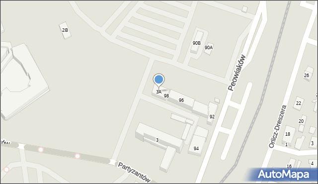 Zamość, Partyzantów, 3A, mapa Zamościa