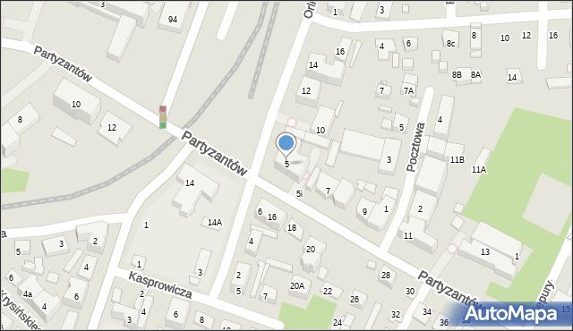 Zamość, Partyzantów, 5, mapa Zamościa