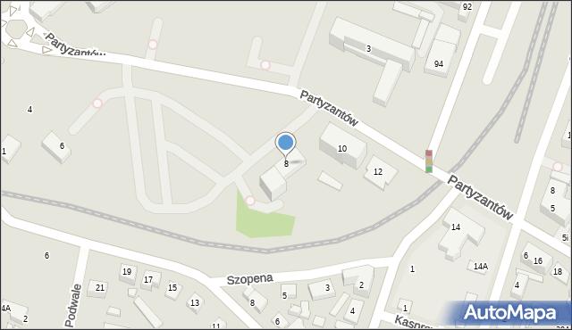 Zamość, Partyzantów, 8, mapa Zamościa