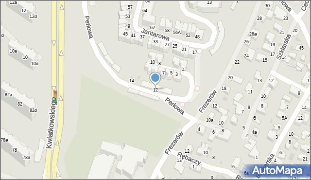 Gdynia, Perłowa, 12, mapa Gdyni