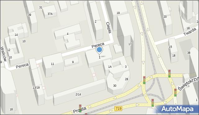 Warszawa, Pereca Icchaka Lejba, 1, mapa Warszawy