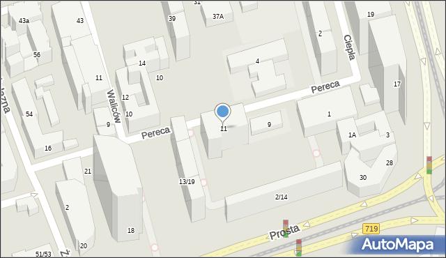 Warszawa, Pereca Icchaka Lejba, 11, mapa Warszawy