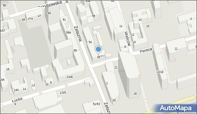 Warszawa, Pereca Icchaka Lejba, 16, mapa Warszawy