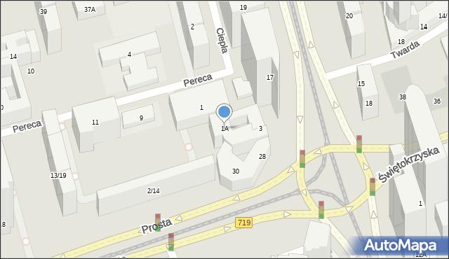 Warszawa, Pereca Icchaka Lejba, 1A, mapa Warszawy