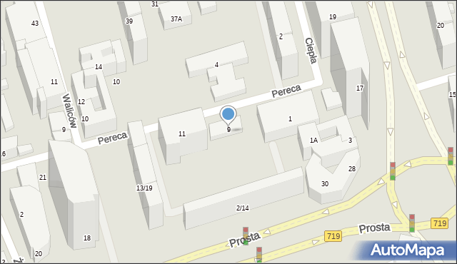 Warszawa, Pereca Icchaka Lejba, 9, mapa Warszawy