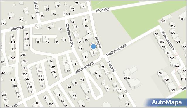 Warszawa, Petunii, 11, mapa Warszawy