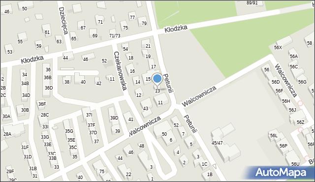Warszawa, Petunii, 13, mapa Warszawy