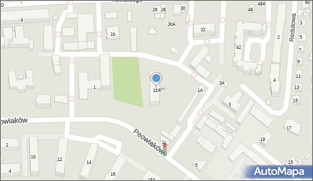 Zamość, Peowiaków, 11A, mapa Zamościa
