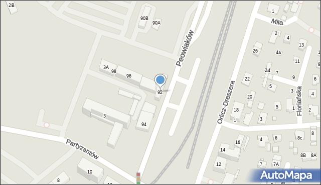 Zamość, Peowiaków, 92, mapa Zamościa