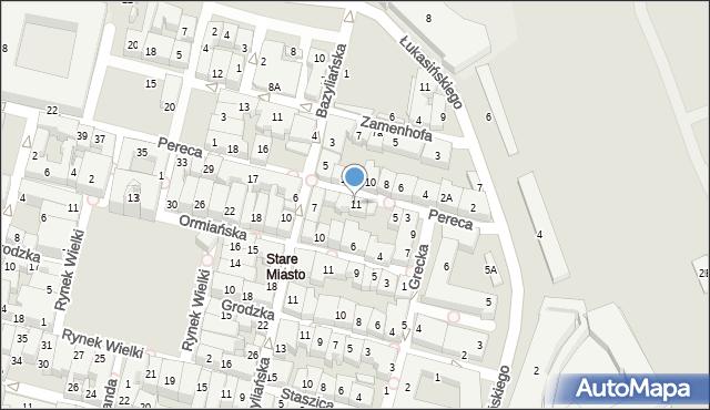 Zamość, Pereca, 11, mapa Zamościa