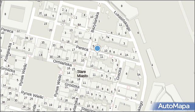 Zamość, Pereca, 13, mapa Zamościa