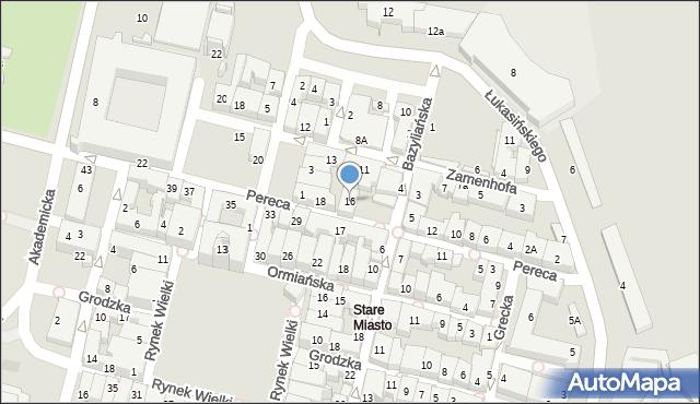 Zamość, Pereca, 16, mapa Zamościa
