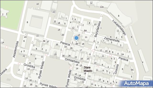 Zamość, Pereca, 18, mapa Zamościa