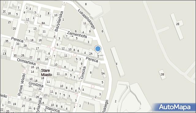 Zamość, Pereca, 2, mapa Zamościa