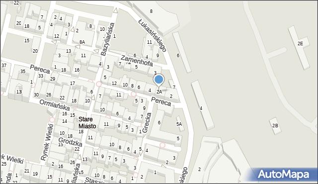 Zamość, Pereca, 2A, mapa Zamościa