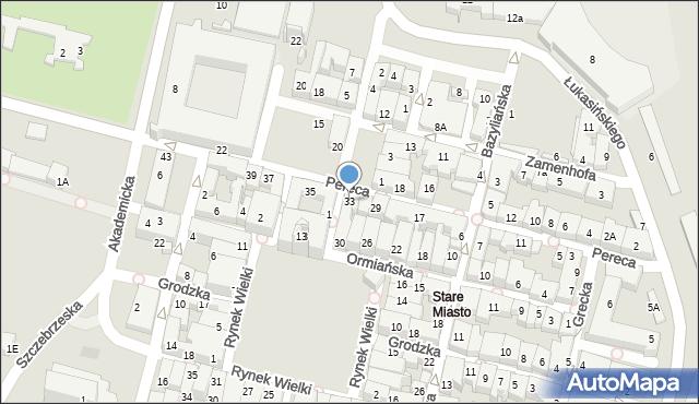 Zamość, Pereca, 33, mapa Zamościa