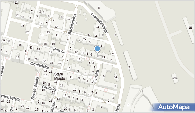 Zamość, Pereca, 4, mapa Zamościa