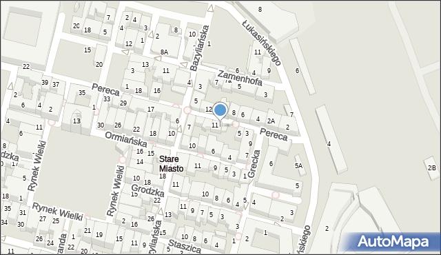 Zamość, Pereca, 9, mapa Zamościa